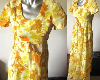 Vintage 70s Yellow Floral Print Short Sleeve Maxi Dress Size XXSmall/00