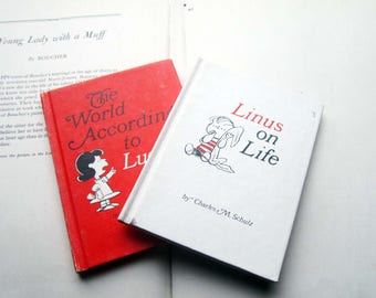 Linus on Life Peanuts, The World According To Lucy , Lucy Charles M Schulz Hallmark Hardcover, 1966 1967 Peanuts Gift Books ~ Comic Funnies
