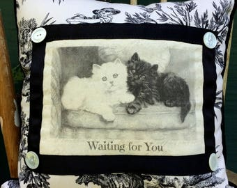 Kittens on Pillow| French Country Decor | Farmhouse Decor | Linen Print | Distressed Shabby Chic Frame |Vintage Cat/Kitten Art