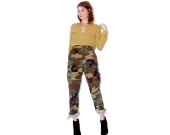 omg cutest CAMO PANTS xs small / real vintage military army issue camouflage pants high waisted pants drawstring cuff pants adjustable waist