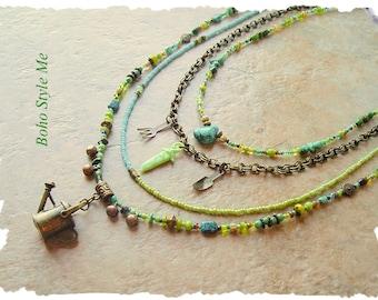 Bohemian Jewelry, Gardeners Garden, Boho Colorful Layered Beaded Necklace, Modern Hippie, Boho Style Me, Kaye Kraus