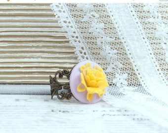 Yellow Rose Cameo Ring Purple And Yellow Ring Rose Cameo Jewelry Orange Flower Ring Rose Statement Ring