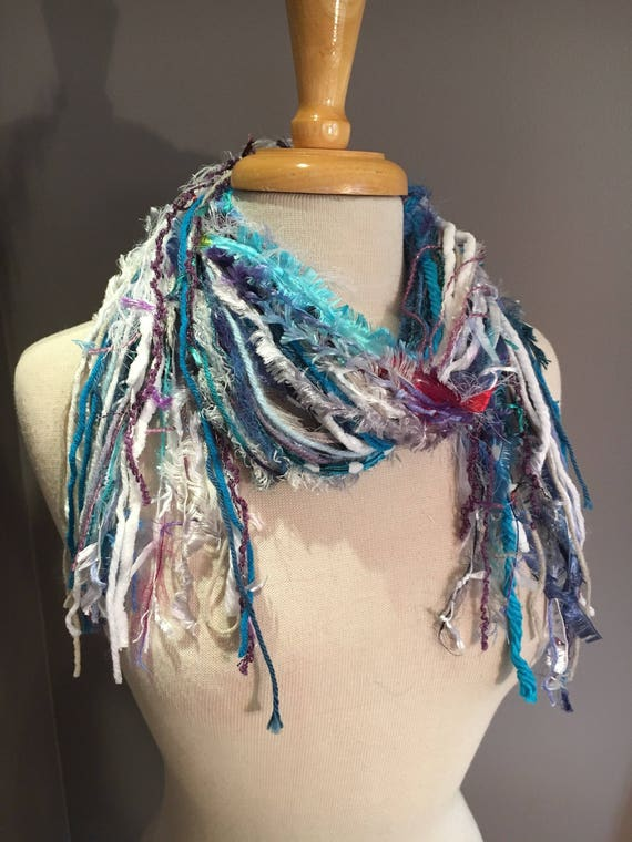 Medium Fringie in Snow Bunny, All Fringe Scarf, Handmade hand-tied art fringe scarf in teal purple white, bohemian, gifts, short scarf, fur