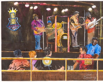 BB Kings, Beale St, Memphis, Night-club, Band, Blue's, Music, Jazz, Instruments, Orignial Mixed- Media Fine Art by Janet Dosenberry