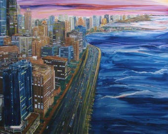 Fine Art Print Image Made Into Card, Downtown Chicago On Lakeshore Dr, Skyscrappers,Willis Tower,John Hancock,Sunset by Janet Dosenberry