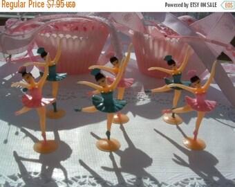 ON SALE Half Dozen Shabby Chic cupcake Ballerina toppers