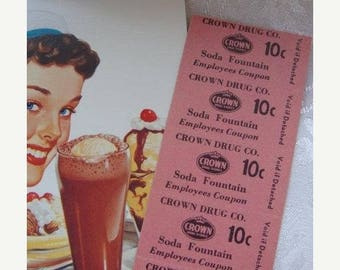 ONSALE Antique Vintage Soda Fountain Drug Store Pink 10 cent Unused Tickets Ephemera Lot At the Diner