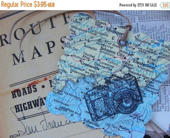 ONSALE Travel Journey Journal Tags, Map with Camera Stamp Tag, Vacation Tag