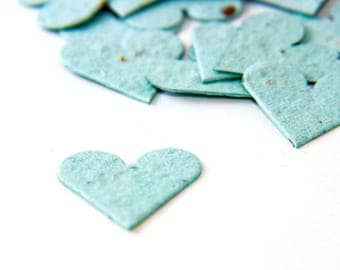 "200 Light Blue Confetti Seed Paper Hearts ""Let Love Grow"" Wedding Favor Table Decoration Bridal Shower Favor Thank You Cards or Invitations"