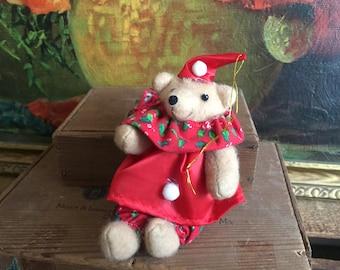 Bear Ornament Clown Bear Christmas Doll Vintage Holiday Decor