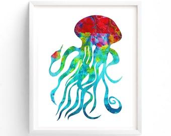 Nursery Art Printable, Jellyfish, Gender Neutral Nursery Art, Sea Life Wall Decor, Dorm Room, Nature, Colorful, Ocean theme
