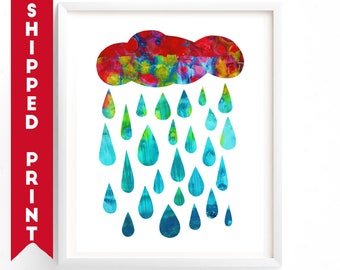 PRINT Rain print, Gender Neutral  Wall Art,  Red Blue Nursery Art