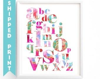 PRINT Alphabet print, Alphabet Letters Print, A to Z Learning Alphabet, Nursery Wall Art,