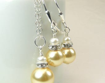 Yellow Pearl Jewelry Set, Swarovski Pearl, Sterling Silver, Bridal Party Set, Bridesmaid Necklace and Earrings, Spring Wedding Jewelry