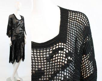 1920s Dress Fringe Small Medium / 1920s Crochet Lace Knit Vintage Dress / Zelda Fitzgerald Dress