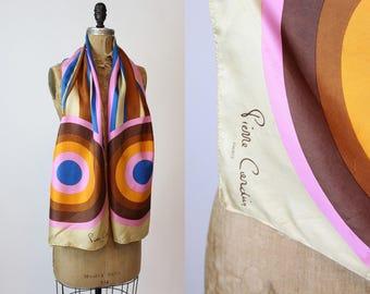 70s Pierre Cardin Scarf Silk / 1970s Vintage Novelty Designer Wrap / Space Age Shawl
