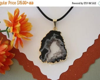 ON SALE Druzy Necklace Gold, Geode Necklace, Crystal Necklace, Gold Geode Slice Druzy,GG53