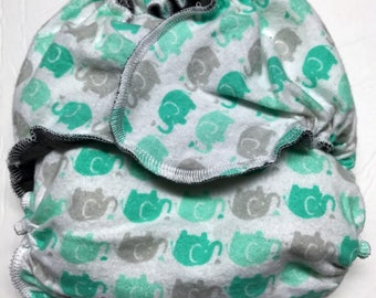 MamaBear One Size Fitted Cloth Cotton Flannel Diaper - Darling Elephants