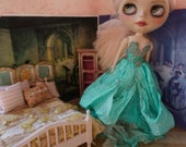 OOAK BLYTHE FAIRY Gown - Ultra Luxe Full Length Gorgeous Hand-Dyed Silk Fairy Dress -  Green Sea Turtle