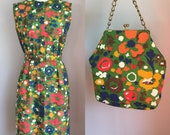 Vintage 1960's Mod Floral Dress Size Small with Matching Purse