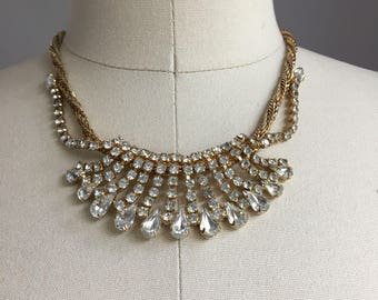 Vintage 1950s Jewels by Julio Godtone Twisted Rope and Rhinestone Choker Necklace