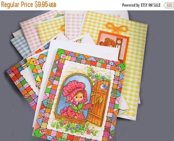 Christmas in July Sale Small lot of 9 charming vintage / 1970s / greeting card / Birthday card / stationary / w envelopes / Susie Ginham / Q