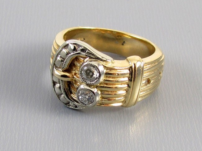 Signed Untermeyer Robbins antique Edwardian 14k gold European cut .32 carat diamond buckle ring, circa 1910-1920.