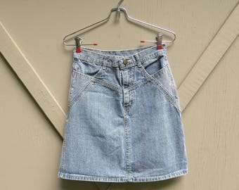 Jordache vintage High Waist Two Tone Engineer Striped and Light Grey Faded Denim Jean Skirt / made in the U.S.A.