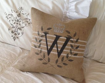 Burlap Monogram Pillow  Grain Sack style  with Laurel Leaf design and Silver Crown   Farmhouse/Lakehoue/Beach/Coastal/Nautical/Cottage Chic