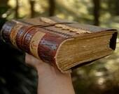 Thoughtlands - Large Rustic Vintage Leather Journal, Vintage Linen & Lace, Aged Paper - OOAK
