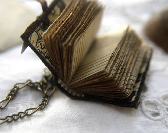 Mini Muso - Miniature Wearable Book, Hand Bound, Tea-Stained Music Pages - OOAK