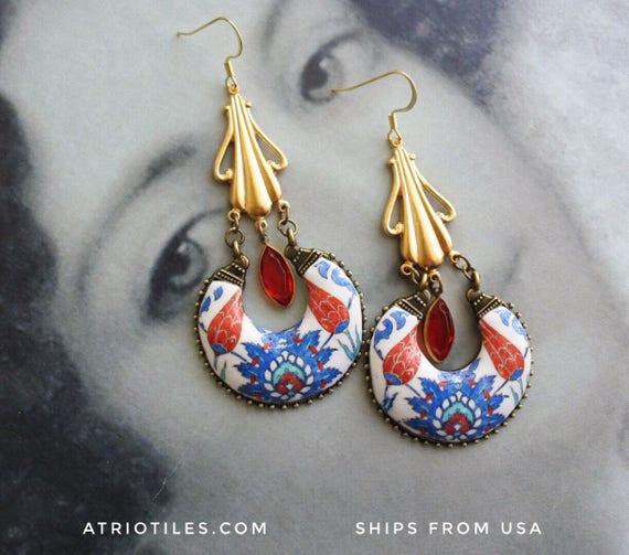 PERSIAN Arab Turkish İznik Pottery Replica Chandelier Earrings - Gypsy Bohemian Bollywood Tribal Boho Arab