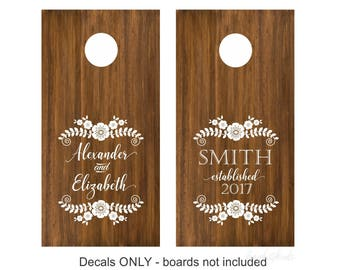 Wedding Cornhole Board decals, rustic wedding decoration, bride and groom, flowers and vines, country wedding, cornhole decals, personalized