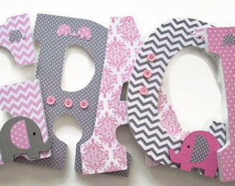 Girls Nursery Letters - Pink Grey Wood Letters - Elephant Nursery Decor - Wall Decor - Wood Wall Letters - Personalized Bedroom - Baby Room