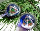 Vintage Diorama Christmas Ornaments, 3D Plastic Globes SET 2, Santa Sleigh, Angels