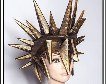 SALE 15 % OFF SALE  Sun God… Spiked Helmet in Black and Burnt Gold Headdress