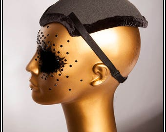 Extra Long Fascinator Hat Base Black with Lining and Straps... Base For Headdress Hat Millinery Foam DIY