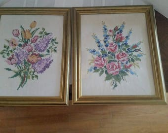 Matched Pair of Framed Floral Embroidery