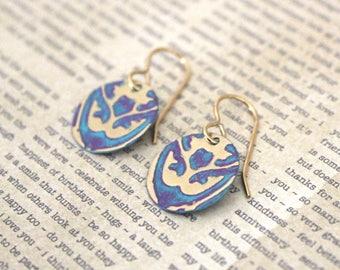 Small Petite Earrings, Vintaj Earrings, Vintaj Jewelry, Blue Purple Jewelry, Boho Jewelry, Dainty, Patina Jewelry, Brass Jewelry, Etruscan