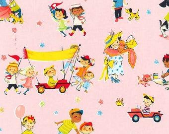 Pink Playtime Fun Fabric - Michael Miller retro Kids Fabric - Cotton Kids Pink Playground Fabric - 1 yard Birthday Fabric - Vintage Repro