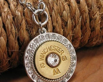 CLEARANCE SALE Bullet Jewelry - Bullet Necklace - 12 Gauge Shotgun Casing Round Diamond Encrusted Medallion Necklace