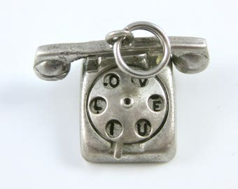 Vintage Rotary Dial Phone Sterling Silver Charm Hello I Love You