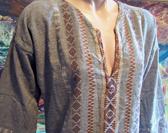 Mexican, Embroidered, Shirt, Long sleeve, Guatemala, Gray, Unisex, XL