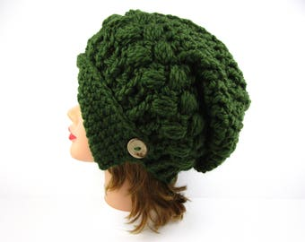 Forest Green Cloche - Crochet Hat With Button - Women's Cloche Hat - Slouchy Beanie - Asymmetrical Hat - Crochet Accessories
