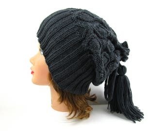 Hat And Cowl Combo - Graphite Slouchy Beanie - Tassel Hat - Drawstring Cowl - Women's Knit Hat - Winter Fashion - Knit Accessories