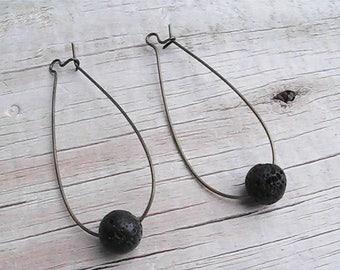 diffuser bead earrings. natural lava rock diffuser earrings. diffuser jewelry. gemstone earrings. organic jewelry.