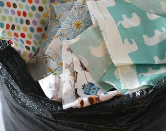 Fabric scraps a craft supply heaven // Per USPS flat rate box