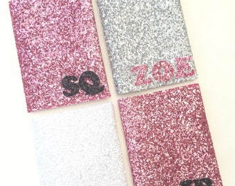 Custom made personalised initial glitter passport covers holders