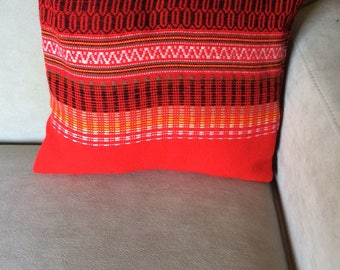 Handwoven Red and Black Striped Throw Pillow, Square