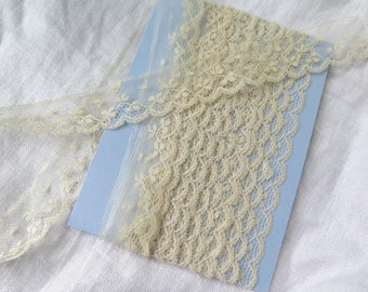 """Antique Chantilly Lace Trim in Ivory Silk Tulle 160 inches x 1"""""""